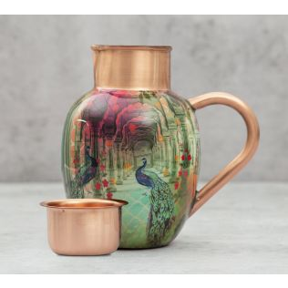 India Circus Peacock Dwar Copper Jug Set