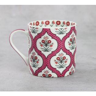 India Circus Pink Lattice Motifs Coffee Mugs Set of 6