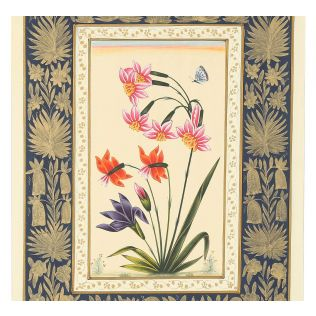 India Circus Pink Mughal Flower Handmade Poster