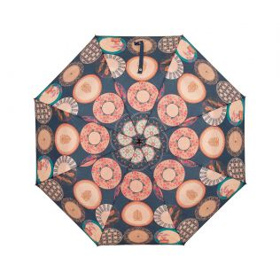 India Circus Platter Portrayal 3 Fold Umbrella