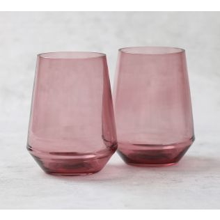 India Circus Plum Round Bottom Drinking Glass (Set of 2)