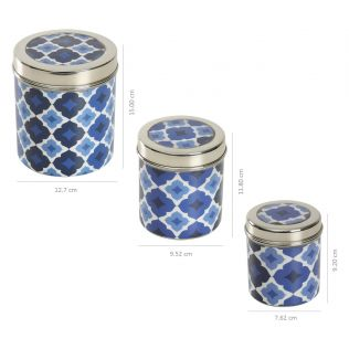 India Circus Prismatic Hexagons Steel Container (Set of 3)