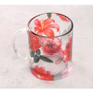 India Circus Red Blooms Glass Mug
