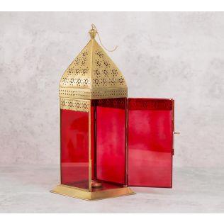 India Circus Scarlet Moroccan Iron Candle Lantern