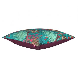 India Circus Sea Green Floral Pillar Crest Canvas Cushion Cover