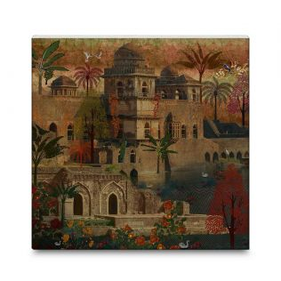 India Circus Ship Palace 16x16 and 24x24 Canvas Wall Art