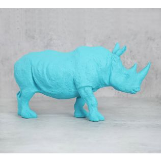 India Circus Sky Blue Rhino Calf Figurine