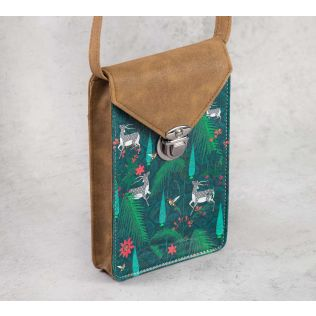 India Circus Teal Forest Fetish Mobile Sling Bag