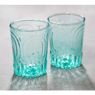 India Circus Teal Glass Tumbler (Set of 2)