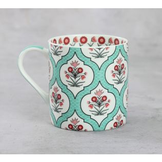 India Circus Teal Lattice Motifs Coffee Mugs Set of 6