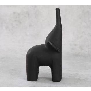India Circus The Black Happy Elephant Figurine