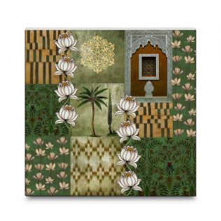 India Circus Tiled Lotus Extravaganza 16x16 and 24x24 Canvas Wall Art