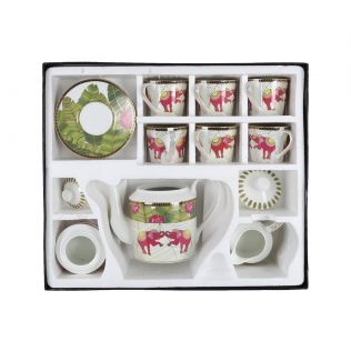 India Circus Tropical Tusker Tea Cup & Saucer Set of 17 pcs