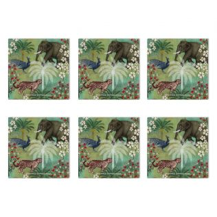 India Circus Wildlife Safari MDF Table Coaster Set of 6