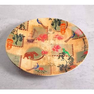 India Circus Wildlife Stamps 10 inch Decorative and Snacks Platter