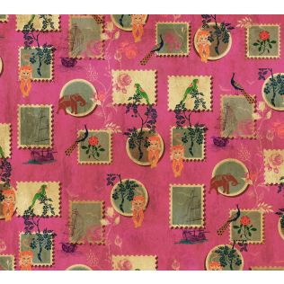 India Circus Wildlife Stamps Gift Wrapping Paper