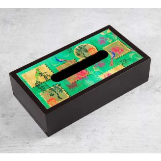 India Circus Wildlife Stamps MDF Tissue Box Holder