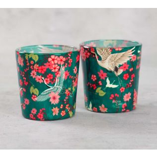 India Cirucs Flight of Cranes Tea Light Holder Set of 2