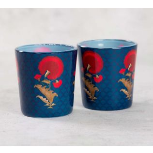 India Circus Flower Regalia Tea Light Holder Set of 2