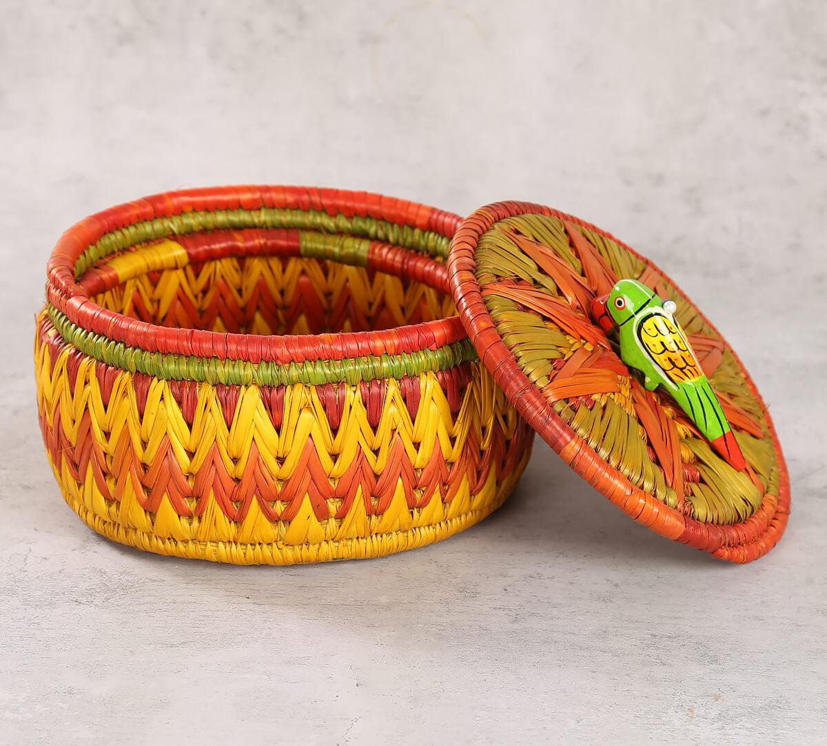 Badohi Hand Woven Yellow Basket