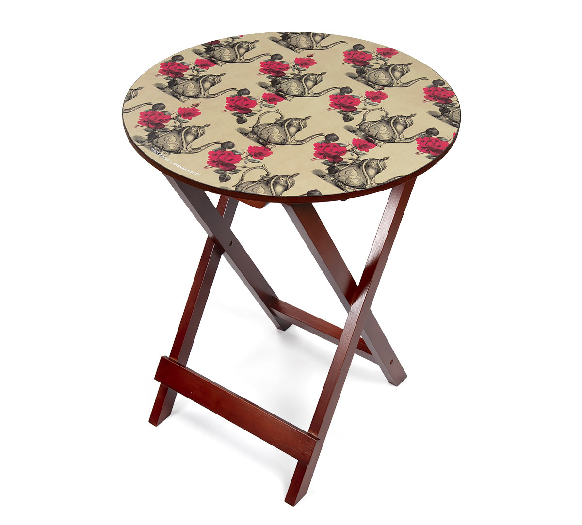 Beige Mystic Rose Kettles Round Side Table