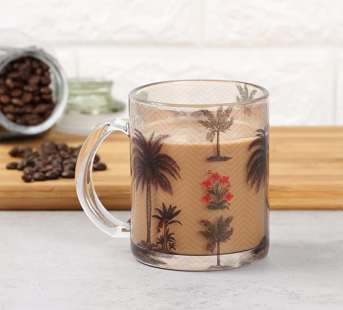 Chevron Palms Glass Mug