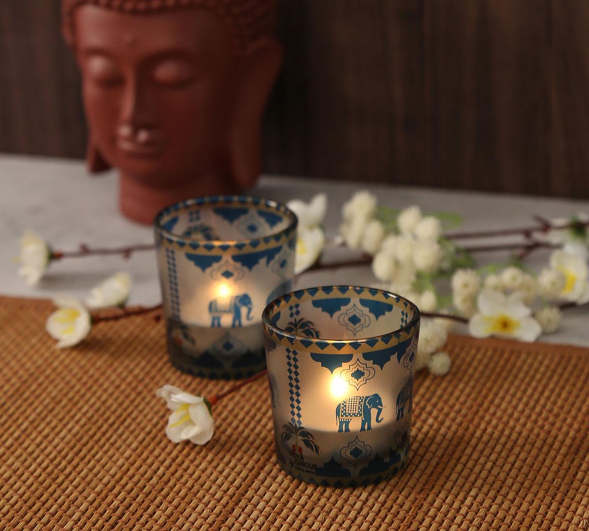 Earthy Symmetry Tea Light Holder Set of 2
