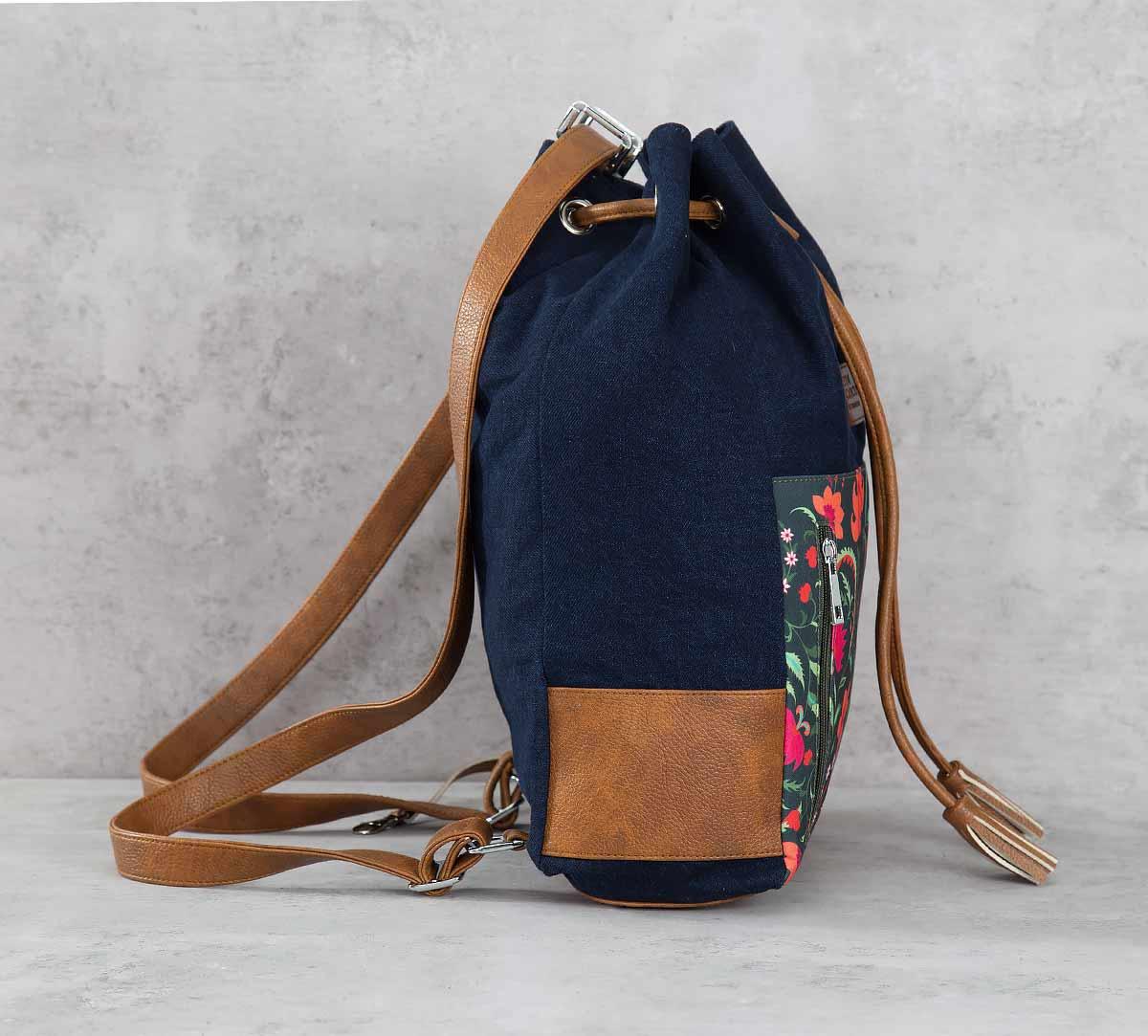 Floral Ecstasy Denim Hobo Bag