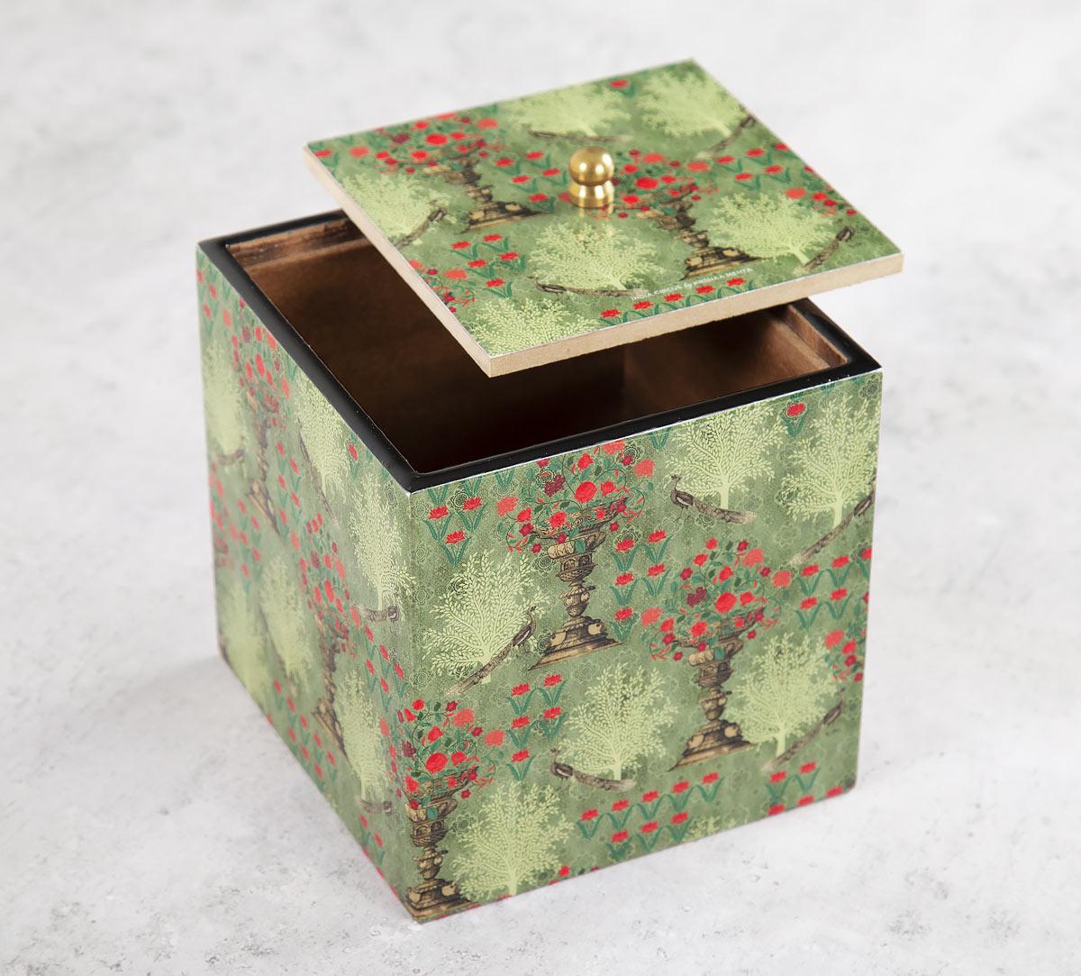 Floral Pillar Crest Square Storage Box