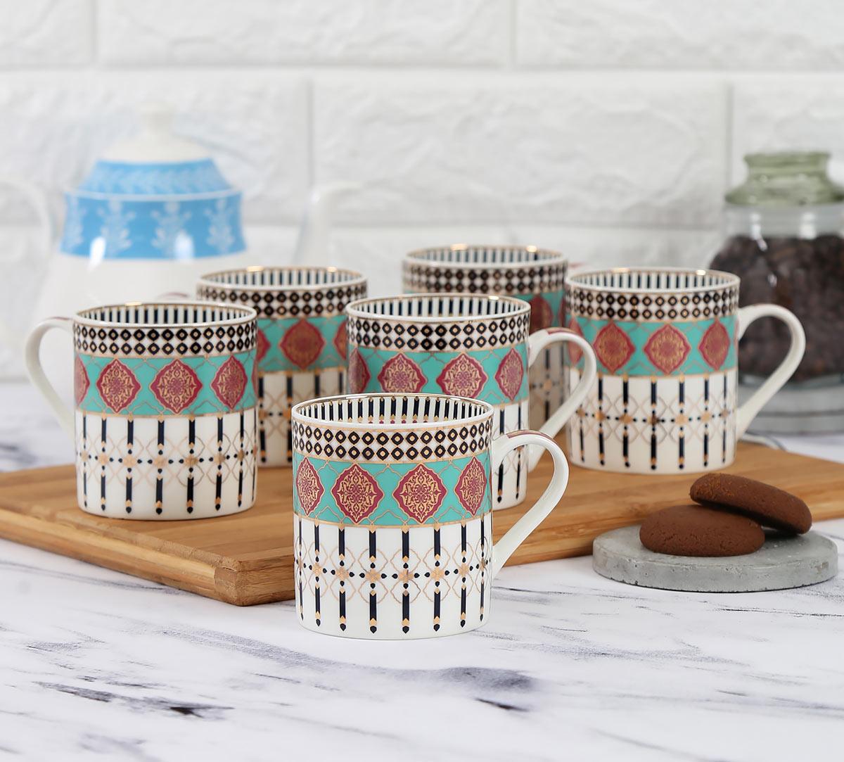 Floral Reed Coffee Mug Set of 6