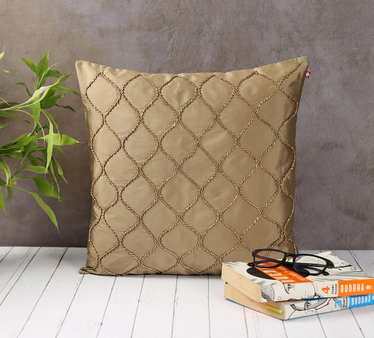 Gold Bead Hand Work Beige Cushion Cover