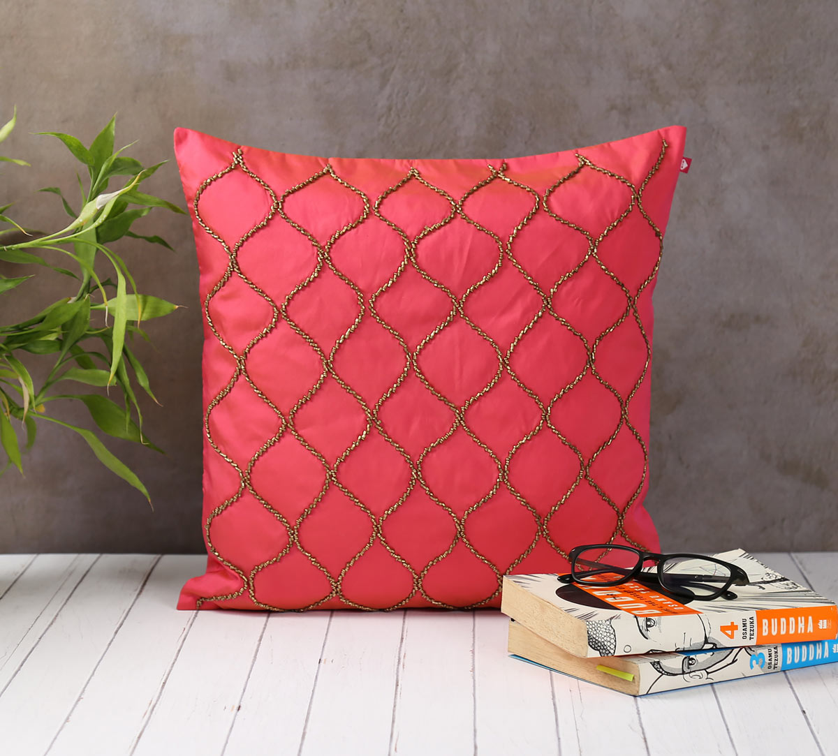 Gold Bead Hand Work Pink Cushion Cover