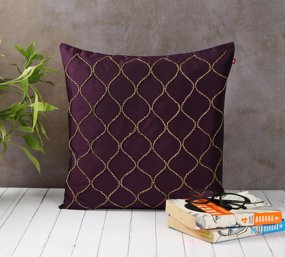 Gold Bead Hand Work Purple Cushion Cover