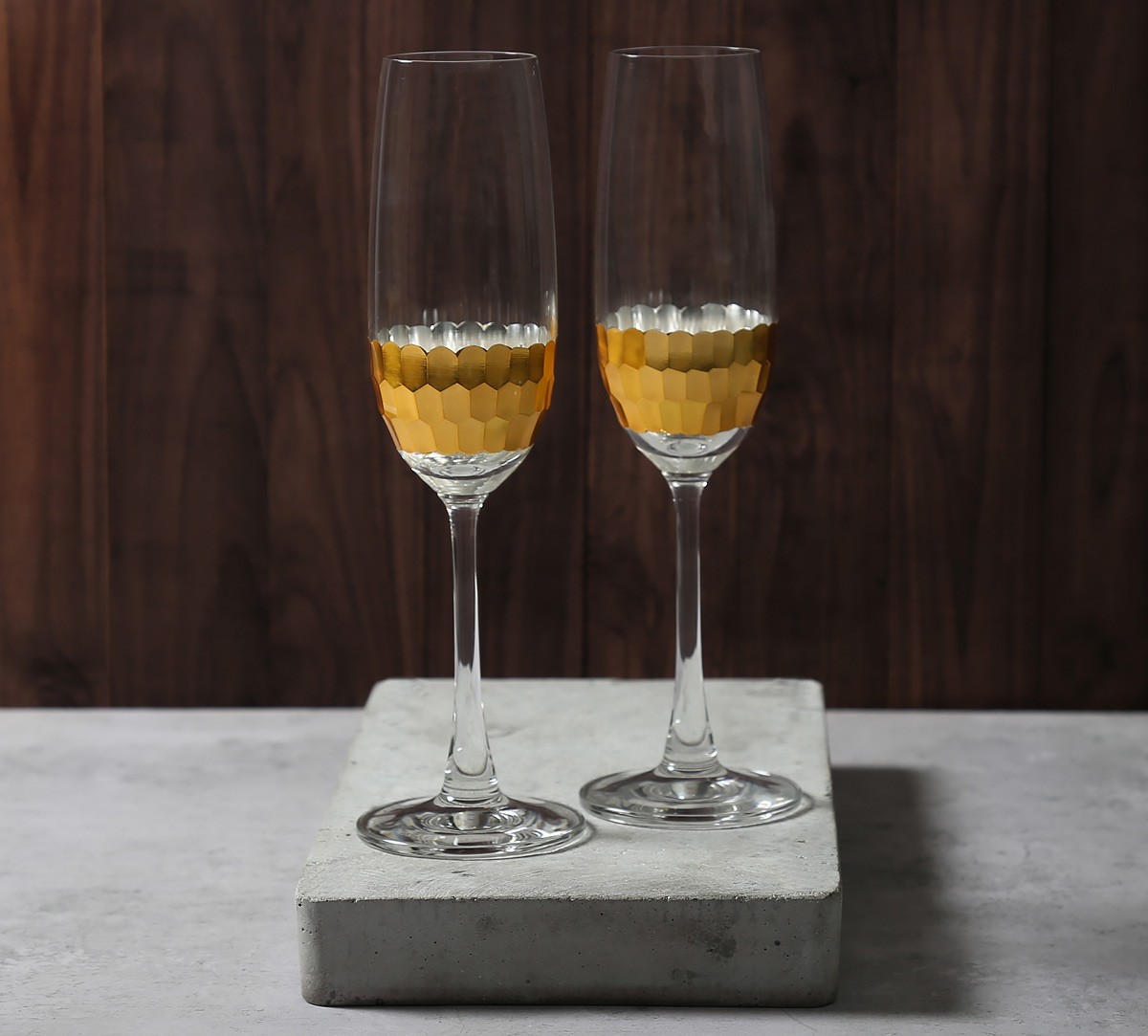 Gold Honeycomb Champagne Glass (Set of 2)