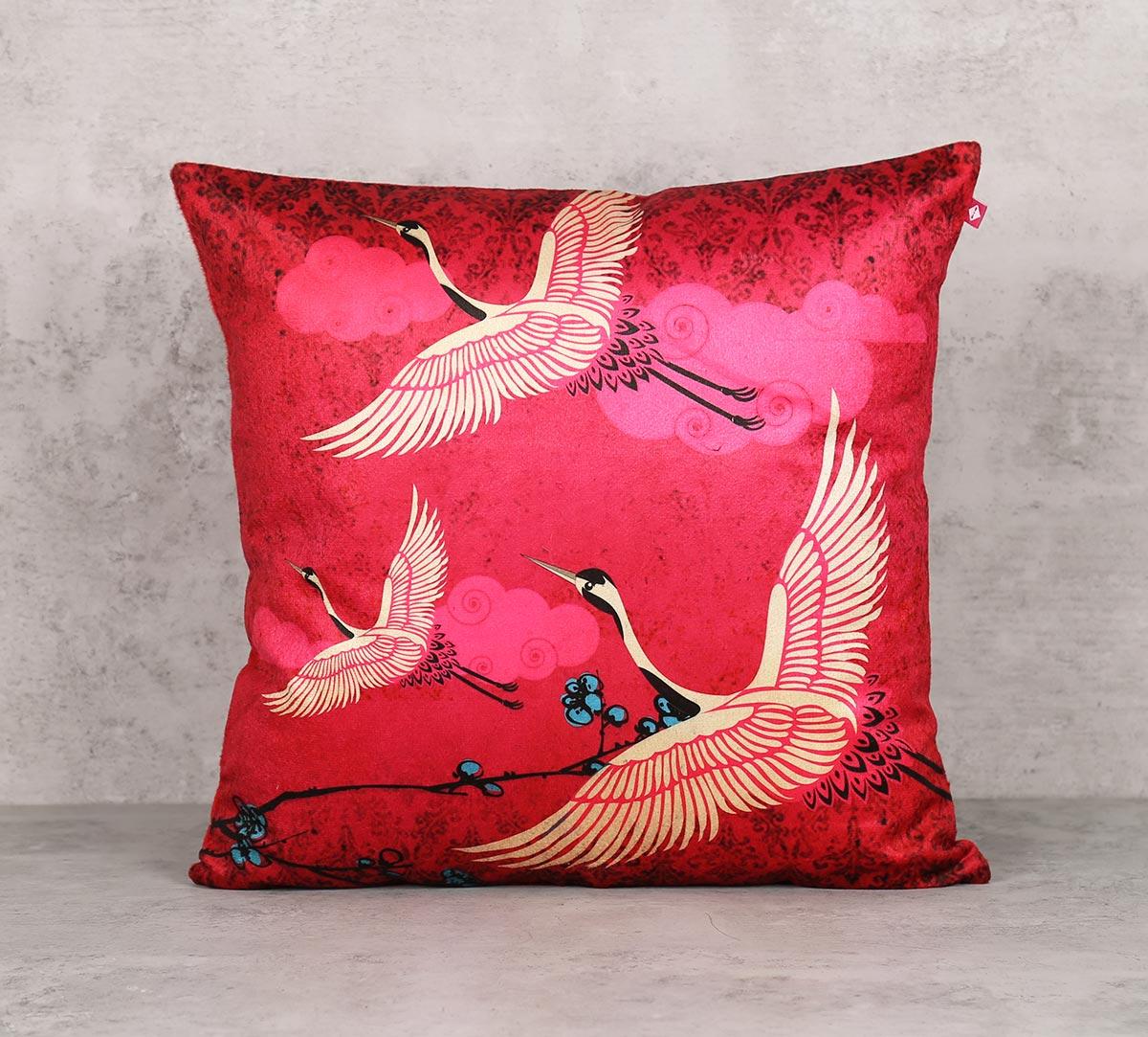 Legend Of The Cranes Blend Velvet Cushion Cover