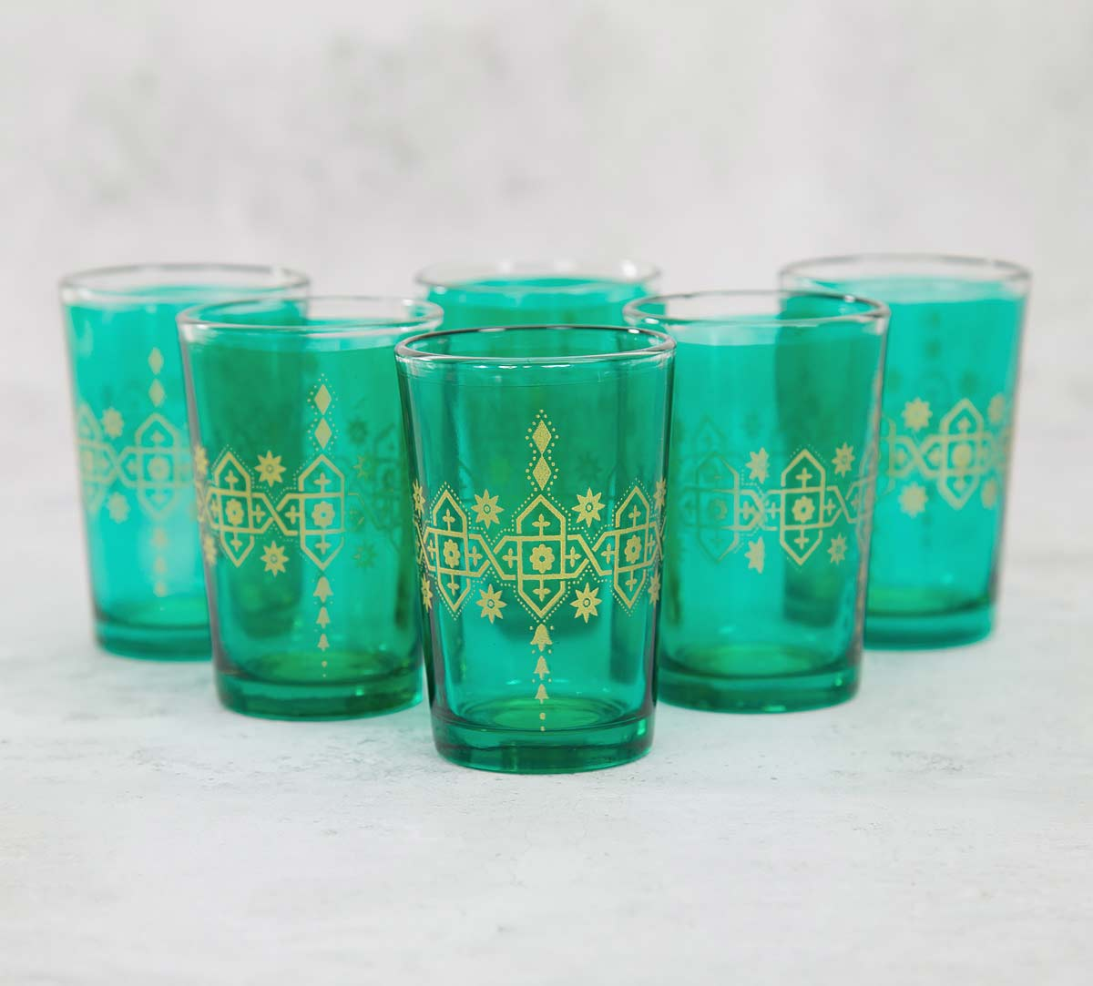 Lionheart Green Moroccan Glasses Set of 6