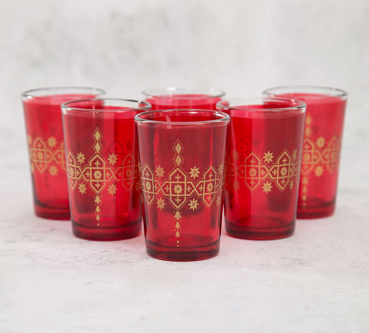 Lionheart Maroon Moroccan Glasses Set of 6