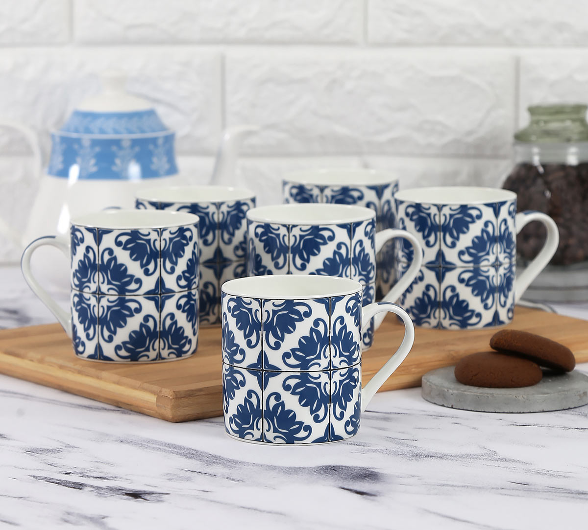 Lotus Clock Coffee Mug Set of 6
