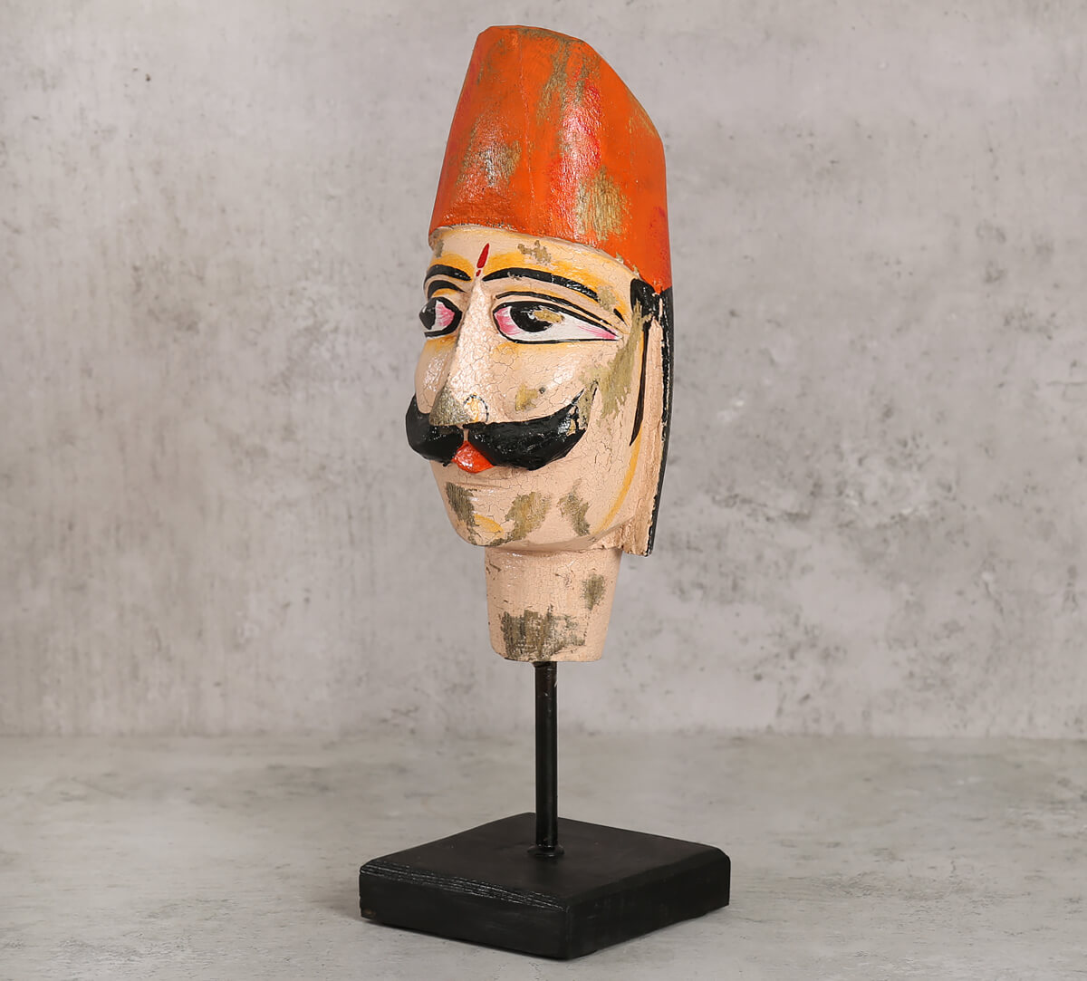 Magnolia Textured Wooden Mask on Stand- Man