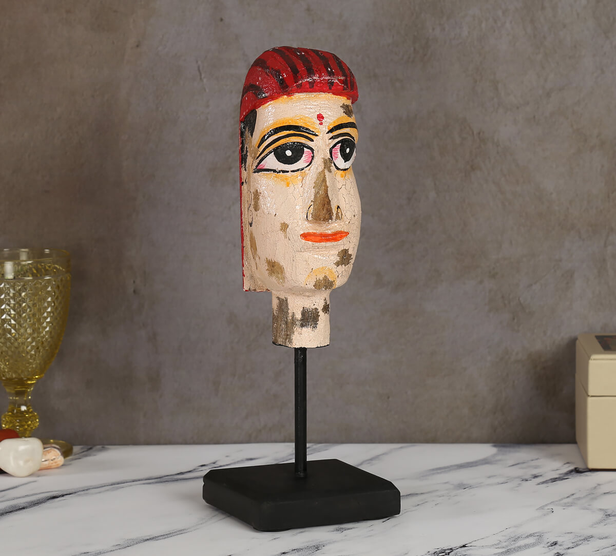 Magnolia Textured Wooden Mask on Stand- Woman