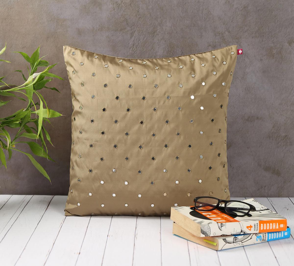Mirror Hand Work Beige Cushion Cover