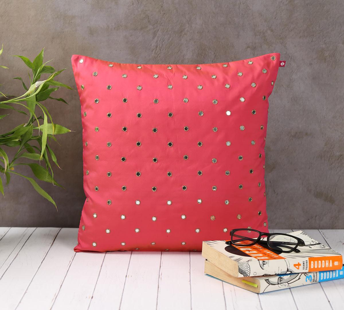 Mirror Hand Work Pink Cushion Cover