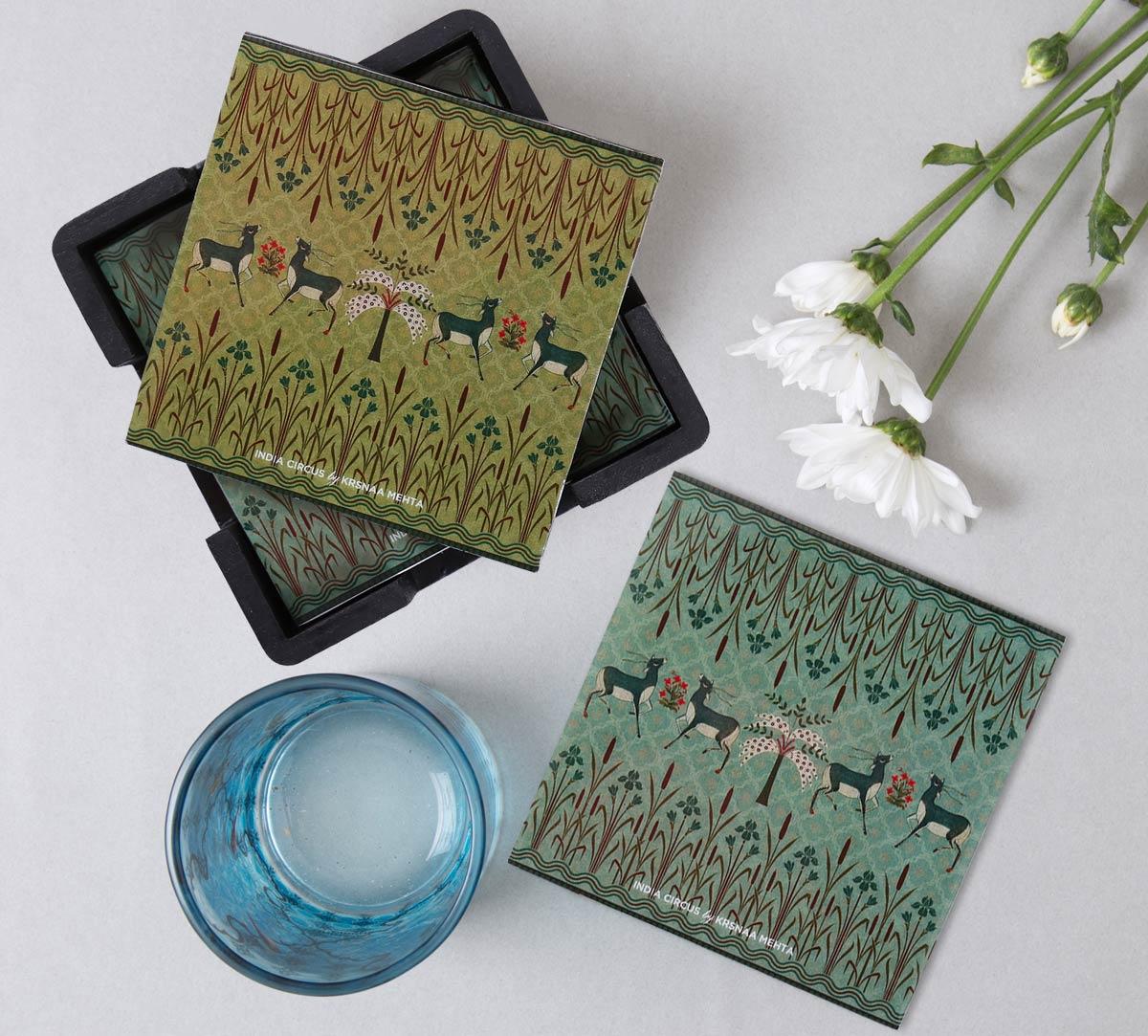 Mirroring Deer Garden MDF Table Coaster Set of 6