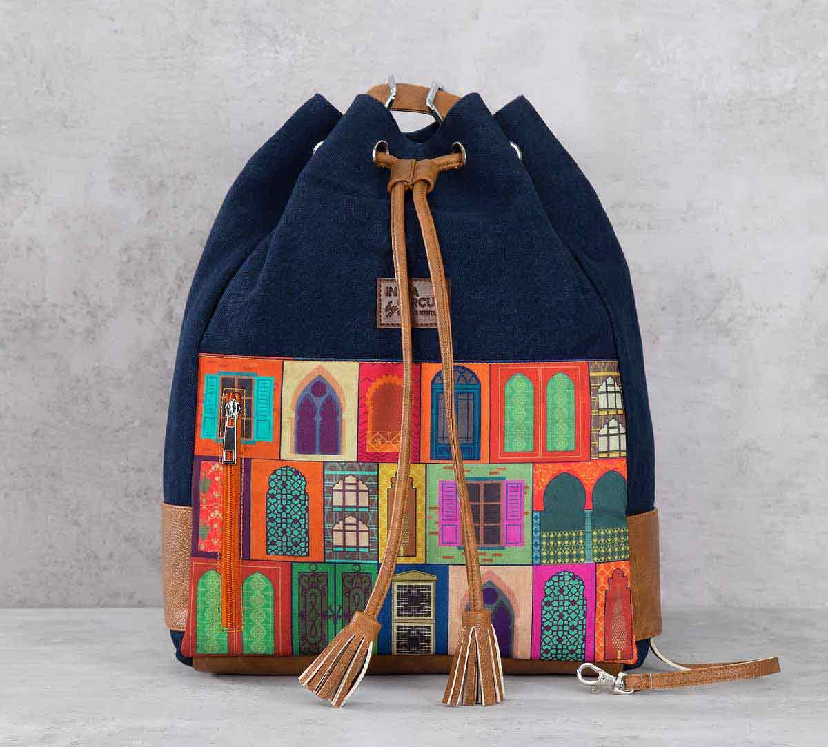 Mughal Doors Reiteration Denim Hobo Bag