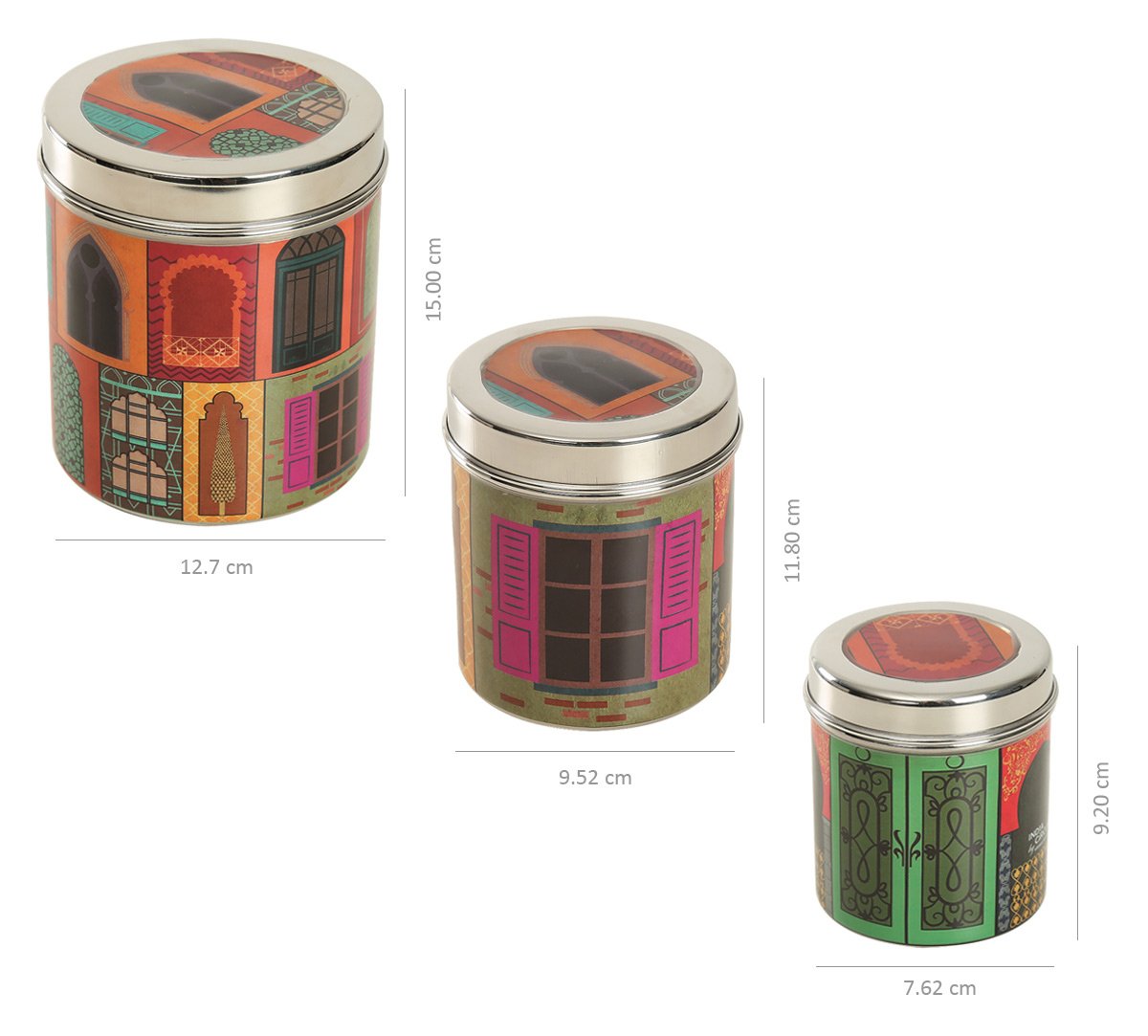 Mughal Doors Reiteration Steel Container (Set of 3)