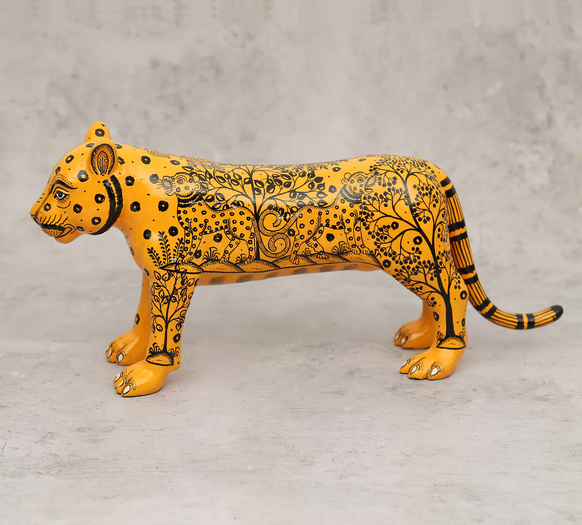 Pattachitra Art Orange Tiger