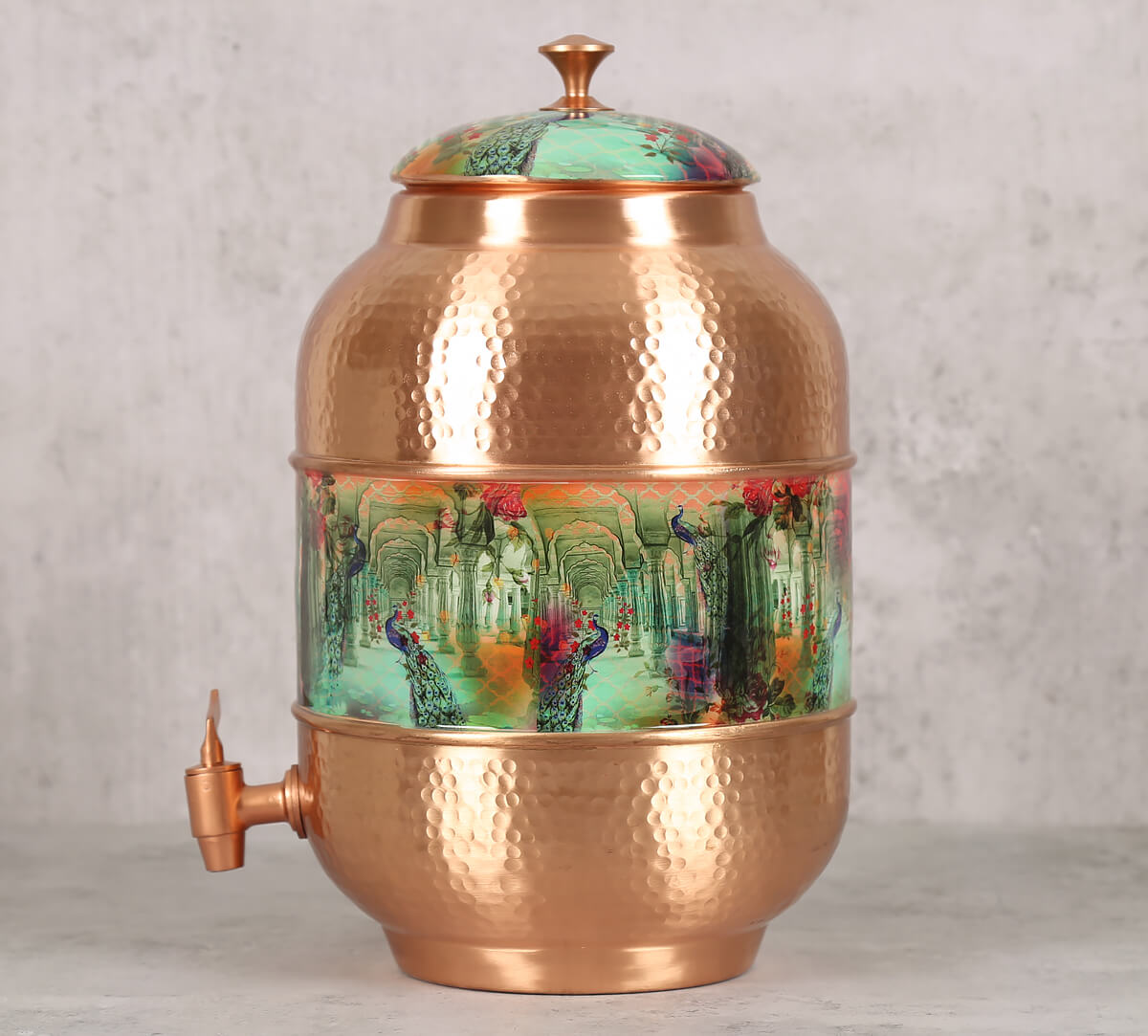 Peacock Dwar Copper Water Dispenser