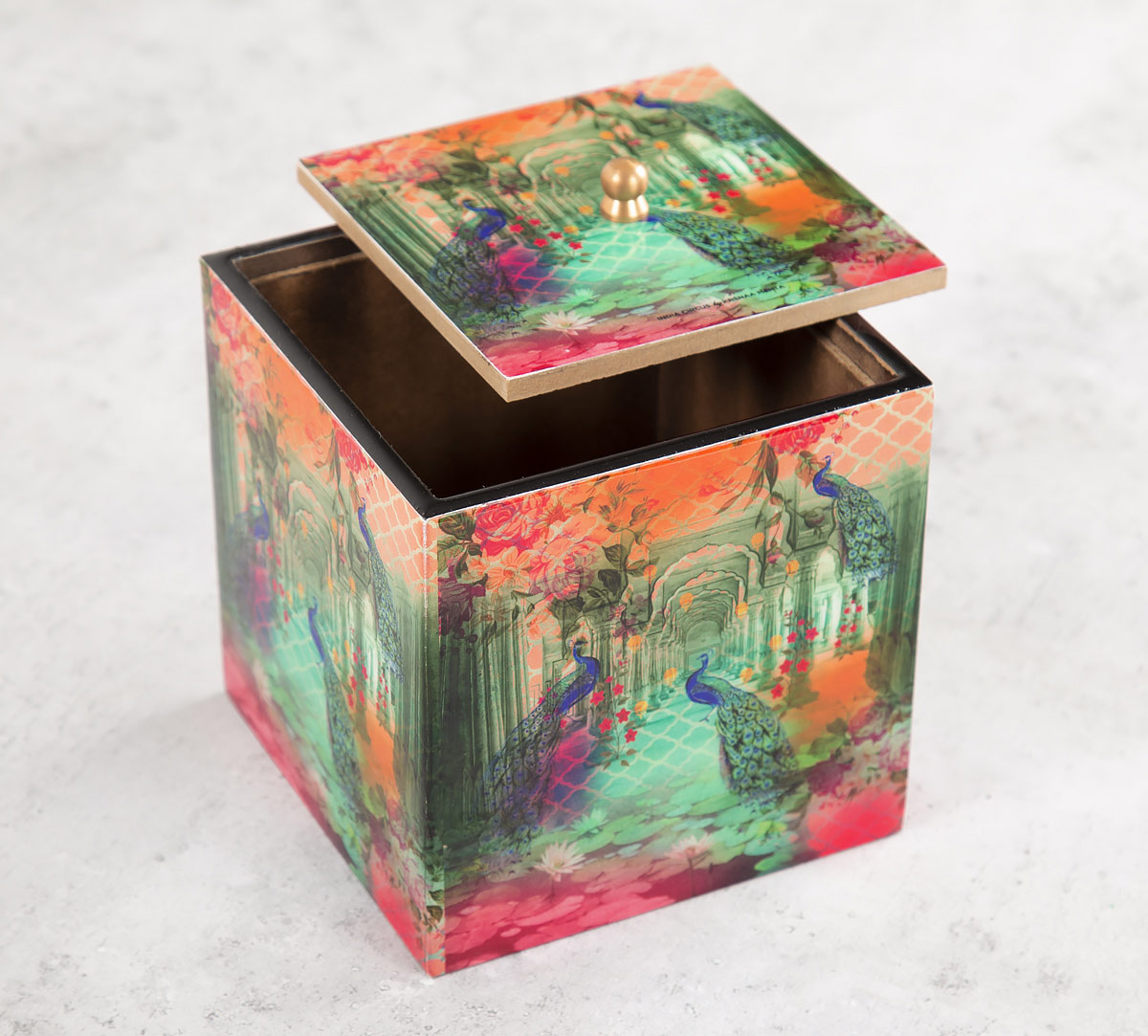 Peacock Dwar Square Storage Box