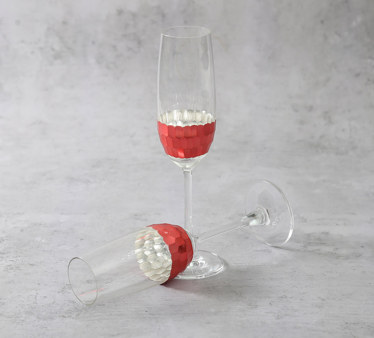Pink Honeycomb Champagne Glass (Set of 2)