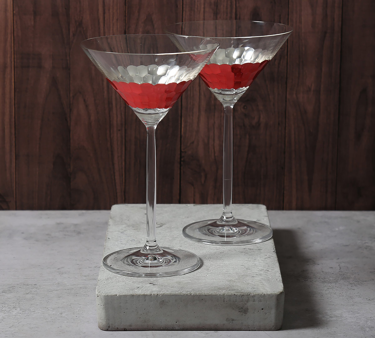 Pink Honeycomb Martini Glass (Set of 2)